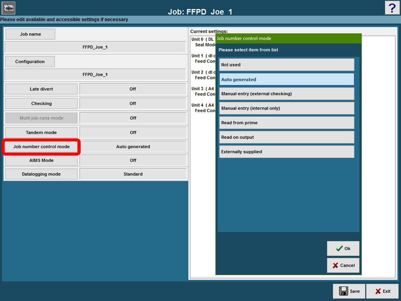 In The DS 1200 IMOS Job Screen, Select The Required Option In Job Number  Control Mode.